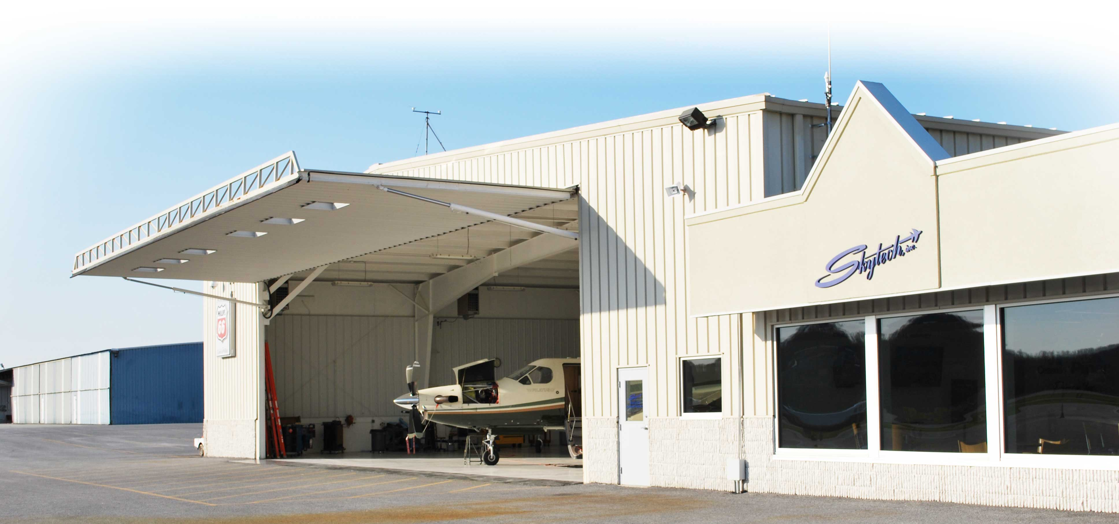 skytech hangar with plane